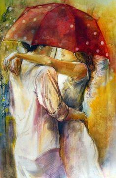 Under The Umbrella by Lena Sotskova - Hand Embellished Giclee on Canvas