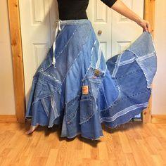 RESERVED Long Denim Maxi Skirt/Blue Jean Skirt/Hippie
