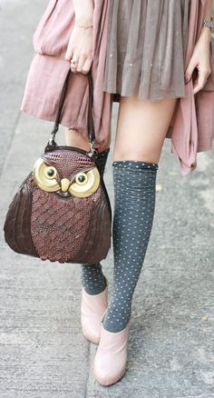 Pale colors, pink, grey, teal, skirt, muted, knee socks, owl, chiffon