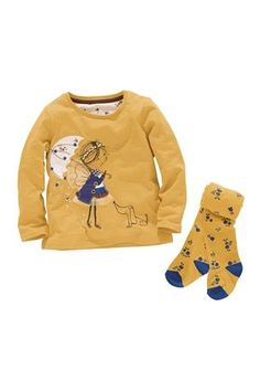 Oatmeal Appliqué Flower Top And Ginger Spotty Tights Set (3mths-6yrs)