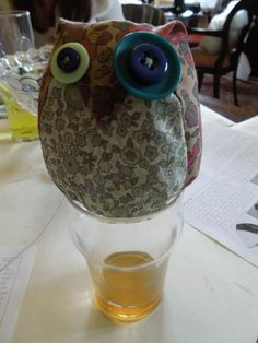 An alcohol induced odd eyed owl in Liberty print
