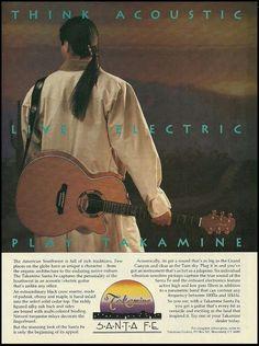 Takamine Santa Fe acoustic electric guitar 1993 ad 8 x 11 advertisement print – Guitar Ideas Fender Acoustic Guitar, Acoustic Guitar Strings, Guitar Amp, Backstage Music, Steve Wariner, Takamine Guitars, Gary Clark Jr, Guitar Magazine, Custom Electric Guitars