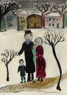 Jewish Family in the Snow by dora holzhandler