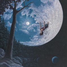 Canadian artist Robert Gonsalves explores childlike stories of wonder through his surrealist paintings, capturing peeks of one's internal daydreams through dual scene optical illusions. The works express both the real and the imaginative, painting Art And Illustration, Fantasy Kunst, Fantasy Art, Robert Gonsalves, Magic Realism, Surrealism Painting, Modern Surrealism, Colossal Art, Beautiful Moon