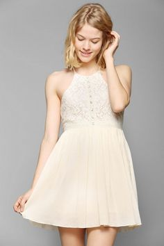 Pins And Needles High-Neck Lace Gauze Dress