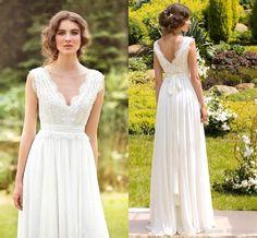 2016 Summer V Neck Sheath Chiffon Beach Bohemian Wedding Dresses Sexy Plus  Size Ruffles Backless Full