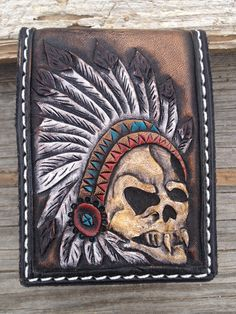 Skull Chief Design Wallet by Kenneth Restani AKA Restani Leather