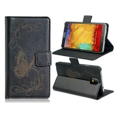 Butterfly Black Leather Samsung Galaxy Note 3 Case