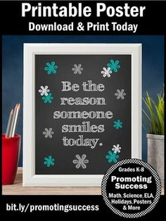 """Inspirational Quote Poster Teal Black Classroom Decor Be the Reason Motivational Sign: This printable poster makes a great for the beginning of the school year, Christmas, or the end of the year. You will receive one poster in teal and gray with the quote, """"Be the reason someone smiles today."""""""