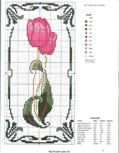 """Photo from album """"Cross Stitch Art Nouveau"""" on Yandex. Cross Stitch Art, Cross Stitch Alphabet, Cross Stitch Flowers, Cross Stitching, Cross Stitch Embroidery, Modern Cross Stitch Patterns, Cross Stitch Designs, Art Nouveau Flowers, Le Point"""