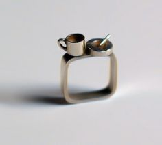 Cigarettes and coffee and things that go together...    silver coffee & cigarettes ring by D-Licious