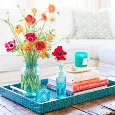 5 tips for using color in styling your coffee table.
