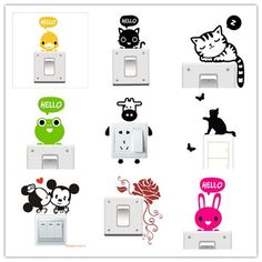 Big Promotion Wholesale 20 Styles Cartoon Animal Eco Friendly Home Decoration Switch Sticker Wall Stickers for Kids Room Kids Wall Decals, Wall Stickers, Vinyl Decals, Fluorescent Light Covers, Decorative Light Switch Covers, Cheap Stickers, Silhouette Vinyl, Eco Friendly House, Vinyl Projects