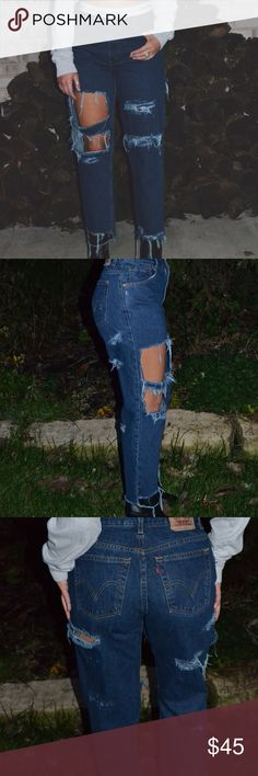 High waisted distressed Levi jeans Reworked by me! These are a pair of dark wash Levi's. they are one of a kind! Levi's Jeans Straight Leg