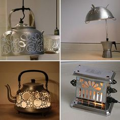 Old kitchen tools into cool lamps.