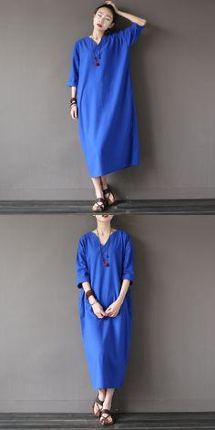 9ebb8e7bd95 2017 Autumn Blue color New Three Quarter Sleeve Cotton Linen V-neck Loose  Vintage Dress Autumn Plus Size Women China Dress Style