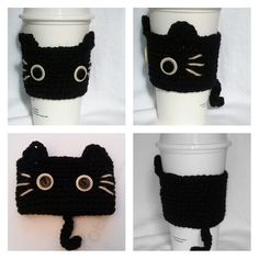 Crochet Black CAT Coffee Cup cozy/warmer/cup holder by QuiltNCrochet on Etsy https://www.etsy.com/listing/170321933/crochet-black-cat-coffee-cup