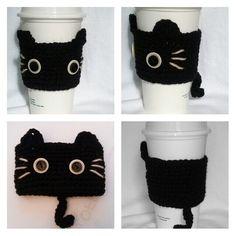 Crochet Black CAT Coffee Cup cozy/warmer/cup holder by QuiltNCrochet on Etsy https://www.etsy.com/listing/170321933/crochet-black-cat-coffee-cup