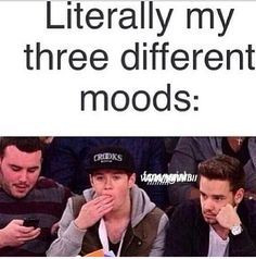 literally they are my three different moods my most mood is probly liam in school niall at home watching one direction videos and the other guy when I am board