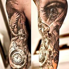 Amazing Sleeve For Men Tattoo Idea Tattoos For Women Half Sleeve, Half Sleeve Tattoos Designs, Angel Tattoo Designs, Arm Sleeve Tattoos, Tattoos For Guys, Full Tattoo, Dark Tattoo, Brust Arm Tattoo, Body Art Tattoos