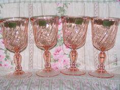 Vintage Wine Glasses Acoroc Rosaline Swirl Stemware Luminac Depression Pink (looking for replacements)