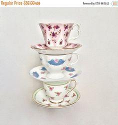 ON SALE Lot of China Teacups / Floral Teacups by EllasAtticVintage