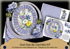 Blue Floral Bouquet Oval Over 3D Mini Card Kit