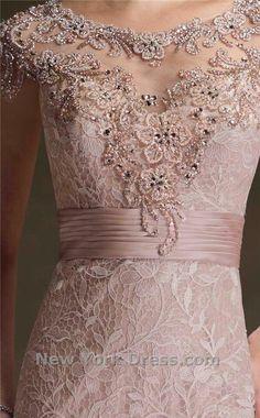 Mon Cheri Cap Sleeve Lace Detail Evening Gown by Ivone D for Mon Cheri Kebaya Lace, Kebaya Dress, Blouse Dress, Lace Dress, Kurta Designs, Blouse Designs, Model Kebaya Modern, Embroidery Suits Design, Fancy Dress Accessories