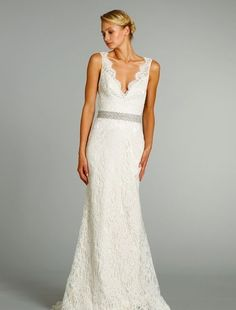 Jim Hjelm - V-Neck Sheath Gown in Alencon Lace