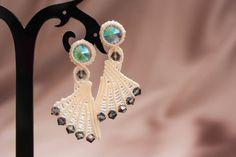 Light cream, silver earrings. Gift for her. Gift for woman. Christmas gift. Anniversary gift. by EsmeJewelleryArt on Etsy