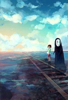Le voyage de Chihiro Hayao Miyazaki, Studio Ghibli Art, Studio Ghibli Movies, Anime Body, Anime Pokemon, Anime Plus, Chihiro Y Haku, Film Anime, Howls Moving Castle