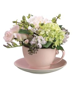 Look at this Allstate Floral & Craft Rose & Lilac Teacup Arrangement on #zulily today!