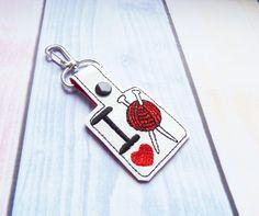 Key Fob 'I love knitting' snap tab machine embroidery by jazziest