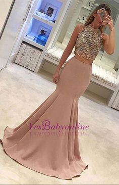 Gorgeous Two-Piece Mermaid Prom Dresses Pink Beads Sleeveless Long Evening Gowns_Wholesale Wedding Dresses, Lace Prom Dresses, Long Formal Dresses, Affordable Prom Dresses - High Quality Wedding Dresses - Yesbabyonline.com