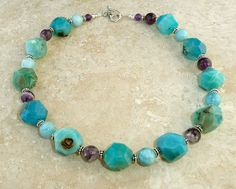 Turquoise Colored Agate Larimar Quartz Amethyst Sterling Silver Chunky Necklace #HANDMADE #CHUNKY