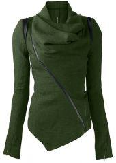Modlily - $32 & Free Shipping (L) Dark Green Long Sleeve Asymmetric Jacket