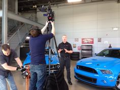 Here's a pic taken from a video shoot of our 2014 Mustang Dream Giveaway Shelby GT500s. Aren't they beautiful- especially the custom hood on the 2014? www.dreamgiveaway.com/dg/mustang to enter to win them. Promo:TP2014 for bonus tickets!