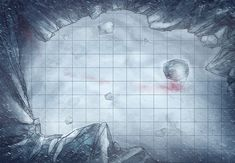 Ice cave, a printable battle map for Dungeons and Dragons / D&D, Pathfinder and other tabletop RPGs. Tags: snow, storm, ice, cave, mountains, blood, freezing, encounter, print.