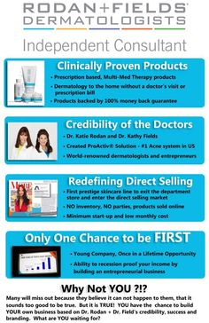 Just think if Proactive would have been direct selling and we had got in on the forefront if it...we would be millionaires!!! This is going to do the same thing if not better. This is the best time to come aboard Rodan and Fields and I am so excited that I am on the forefront of THIS growth.  Contact me for details... BelindaJBall@aol.com
