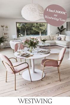 Living Area, Living Room, Dining Chairs, Dining Table, Pink Sofa, Bright Homes, Pink Houses, Elegant Homes, Dining Room