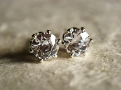 Old European cut cubic zirconia stud earrings by KahiliCreations