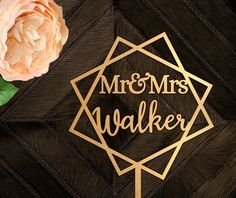Customized Wedding Cake Topper - Geometric Cake Topper - Custom Personalized - Personalized Cake Topper - Contemporary Cake Topper - Gold Personalized Cake Toppers, Custom Wedding Cake Toppers, Mr Mrs Cake Toppers, Geometric Cake, Metallic Spray Paint, Henna Party, Paper Cake, Beautiful Wedding Cakes, Metallic Colors