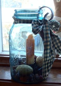 The Gathering Room: Easy Mason Jar Project Mason Jar Projects, Mason Jar Crafts, Bottle Crafts, Diy Projects, Blue Mason Jars, Bottles And Jars, Wrought Iron Candle Holders, Reuse Recycle, Upcycle