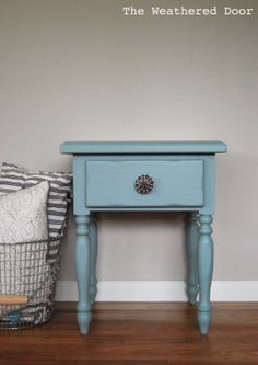 Nightstand painted in General Finishes Persian Blue Milk Paint - color goes good with daybed quilt. We'll use this one a side of the daybed to hold a small clock and maybe a reading lamp.