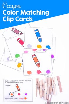 Help your toddler or preschooler learn his or her colors with these cute printable Crayon Color Matching Clip Cards! Great for color recognition and fine motor skills. Fun Activities For Preschoolers, Fine Motor Activities For Kids, Printable Activities For Kids, Kids Learning Activities, Color Activities, Infant Activities, Fun Learning, Teaching Kids, Number Activities