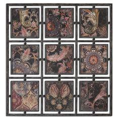 Elegant set of prints framed in black iron