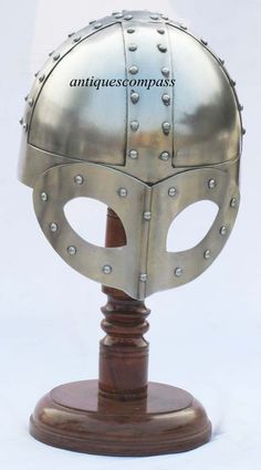Steel Viking Norse Spectacle Helmet Medieval Armour Costume Helmet w/ stand
