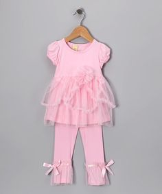 Take a look at this Pink Cap-Sleeve Tee & Leggings - Toddler & Girls by Mia Belle Baby on #zulily today!