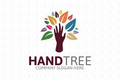 Hand Tree - $250 (negotiable) http://www.stronglogos.com/product/hand-tree #logo #design #sale #hand #tree #colorful #leaves #art #craft #shop #florist #wedding