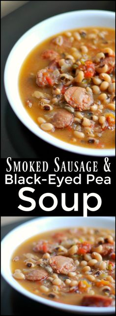 This Smoked Sausage & Black-Eyed Pea Soup is one of our all time favorite soups. - This Smoked Sausage & Black-Eyed Pea Soup is one of our all time favorite soups. Even people that d - Healthy Diet Recipes, Healthy Soup Recipes, Cooking Recipes, Crock Pot Recipes, Cooking Tips, Milk Recipes, Brothy Soup Recipes, Cooking Games, Oven Recipes
